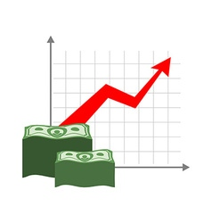 Graph growth money Red up arrow Increase in cash vector image vector image