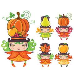 harvest girls vector image