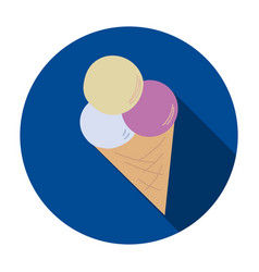 ice cream icon on a blue background vector image vector image
