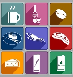 Icons of food and drinks vector image vector image