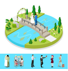 Isometric city park composition with couple vector