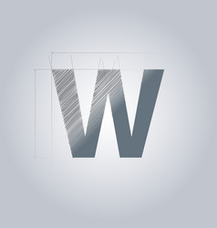 Letter w logo alphabet logotype architectural vector