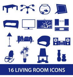 living room icon set eps10 vector image