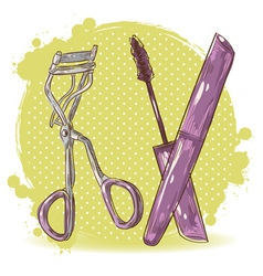 Make-up eyelash curler and mascara isolated card vector