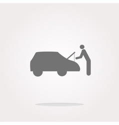 Man and car on web icon button isolated on vector