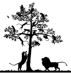 Monkeys and lions vector image vector image