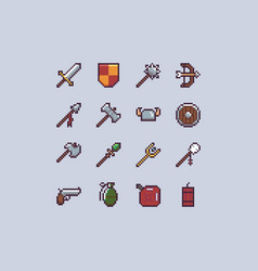 Pixel weapons icon set vector