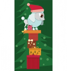 Poodle with christmas presents vector