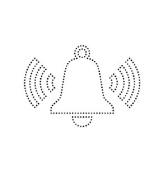 Ringing bell icon black dotted icon on vector
