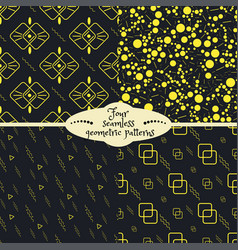 set of four yellow geometric seamless patterns vector image