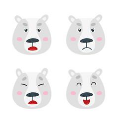 set with polar bear emotion faces cute vector image