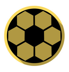 Soccer ball sign flat black icon with vector