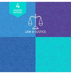 Thin line art law justice and crime pattern set vector