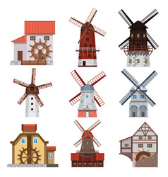 traditional windmills and water mills vector image