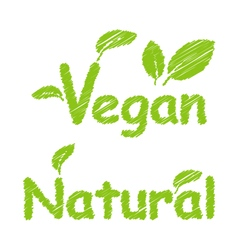 Vegan and natural green texts vector