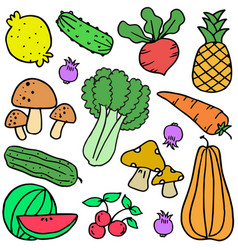 vegetable colorful doodle set vector image vector image