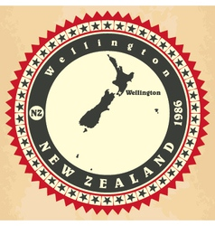 Vintage label-sticker cards of new zealand vector