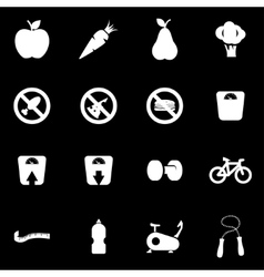 white diet icon set vector image vector image