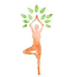 Woman in yoga tree pose isolated on white vector
