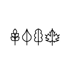 Thin line tree leaf icons vector image
