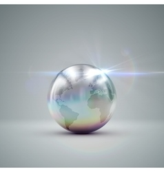 Metallic earth globe vector