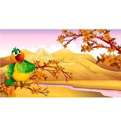 A mountain view with a bird vector image