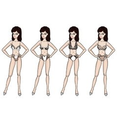 Collection of lingerie panty and bra set vector