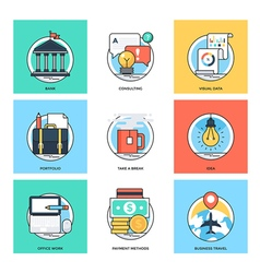 Flat color line design concepts icons 37 vector