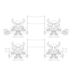 Dwarfs with banners outline set vector
