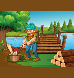 man chopping woods by the river vector image