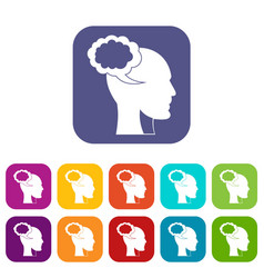 speech bubble with human head icons set flat vector image