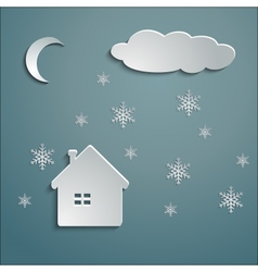 Paper house winter vector