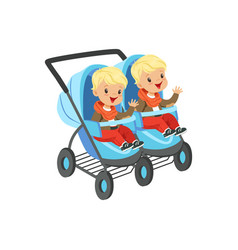 Cute little boys sitting in a blue baby carriage vector