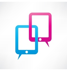 Two ipads bubble speech vector