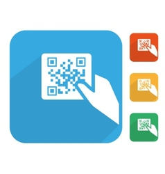 Qr code label with human hand icon set vector