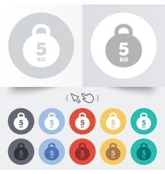 Weight sign icon 5 kilogram kg sport symbol vector
