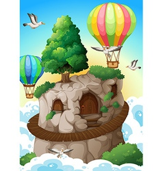 Cave and balloons vector image