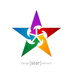 Star with arrows abstract design element on white vector