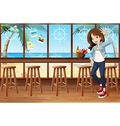Woman and cafe vector