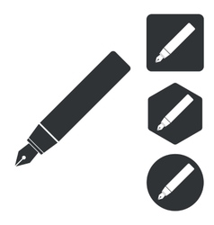 Fountain pen icon set monochrome vector