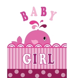 Whale baby girl vector