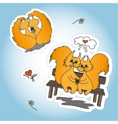 Stickers with two loved squirrel vector
