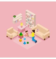 Mother and daughter playing isometric banner vector