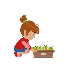 Little girl growing carrots vector