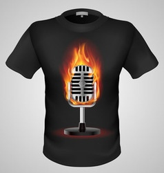 T shirts black fire print man 25 vector