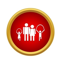 Family on walk icon simple style vector