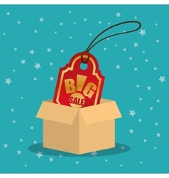 Cardboard box tag price big offer sale with star vector