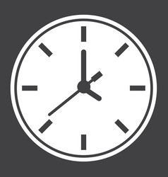 Clock solid icon time and website button vector