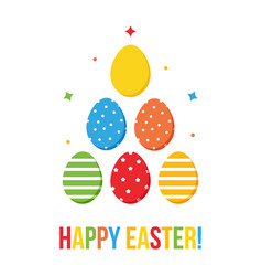 Colorful flat design happy easter card vector