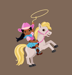 Cowgirl riding a horse with lasso vector